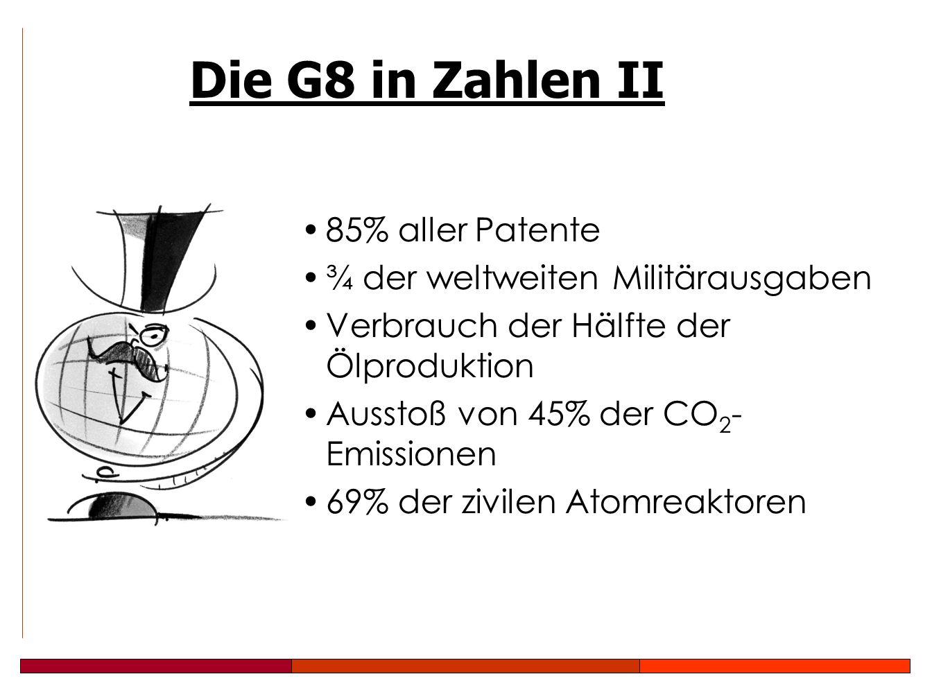 85% aller Patente ¾ der weltweiten Militärausgaben Verbrauch der Hälfte der Ölproduktion Ausstoß von 45% der CO 2 - Emissionen 69% der zivilen Atomreaktoren Die G8 in Zahlen II