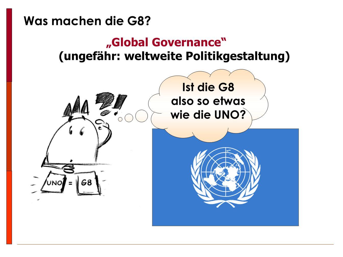 """G8UNO  alle Staaten haben einen Sitz  jeder Staat hat eine Stimme …also demokratisch und dadurch auch """"berechtigt !!."""