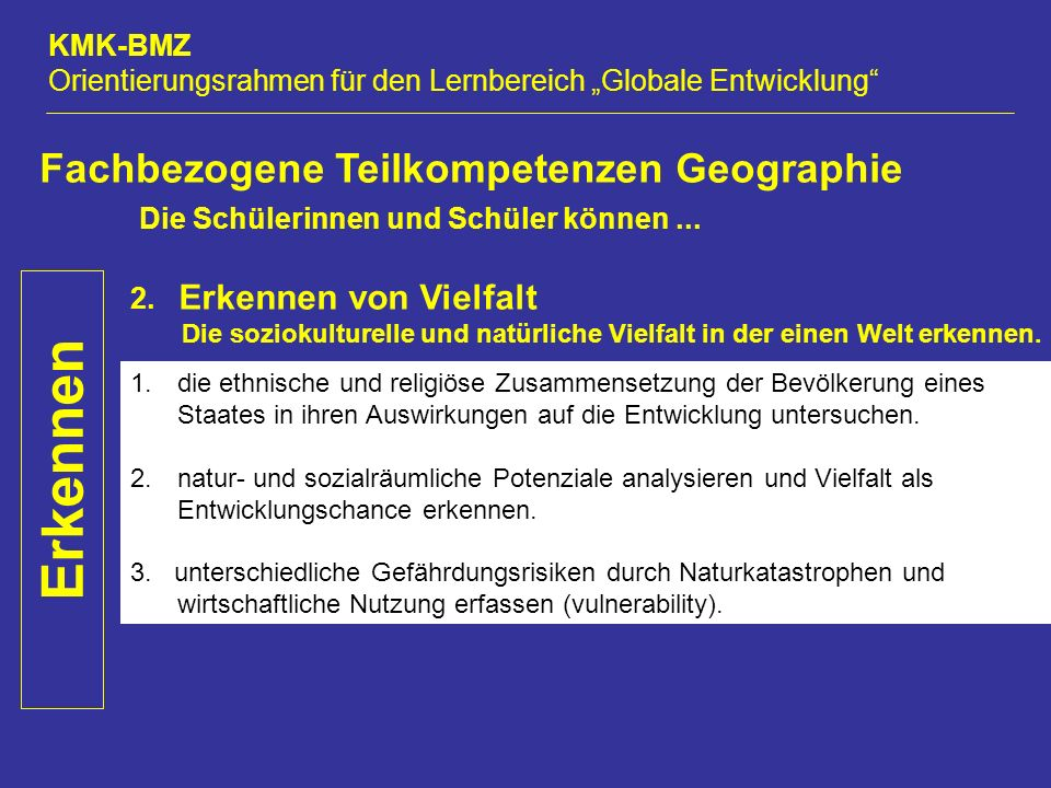 """KMK-BMZ Orientierungsrahmen für den Lernbereich """"Globale Entwicklung Erkennen Fachbezogene Teilkompetenzen Geographie Die Schülerinnen und Schüler können..."""