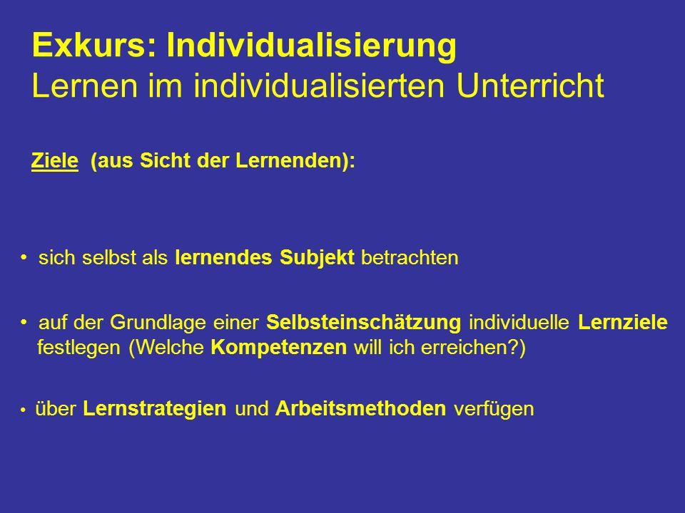 Exkurs: Individualisierung Lernen im individualisierten Unterricht Ziele (aus Sicht der Lernenden): sich selbst als lernendes Subjekt betrachten auf der Grundlage einer Selbsteinschätzung individuelle Lernziele festlegen (Welche Kompetenzen will ich erreichen?) über Lernstrategien und Arbeitsmethoden verfügen