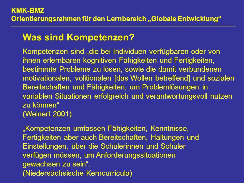 """KMK-BMZ Orientierungsrahmen für den Lernbereich """"Globale Entwicklung Was sind Kompetenzen."""