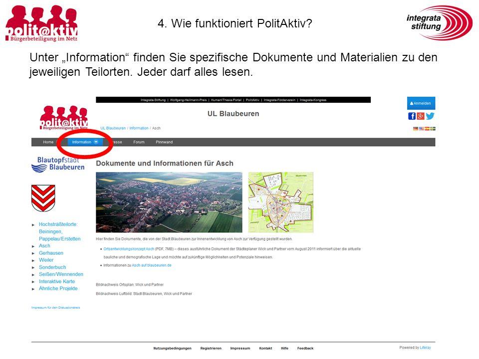 """Unter """"Information finden Sie spezifische Dokumente und Materialien zu den jeweiligen Teilorten."""