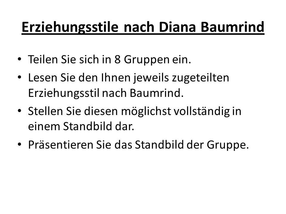 Erziehungsstile nach Diana Baumrind Teilen Sie sich in 8 Gruppen ein.