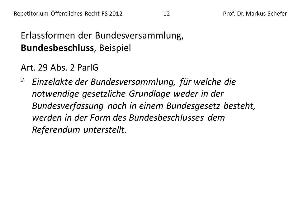 Repetitorium Öffentliches Recht FS 201212Prof. Dr.