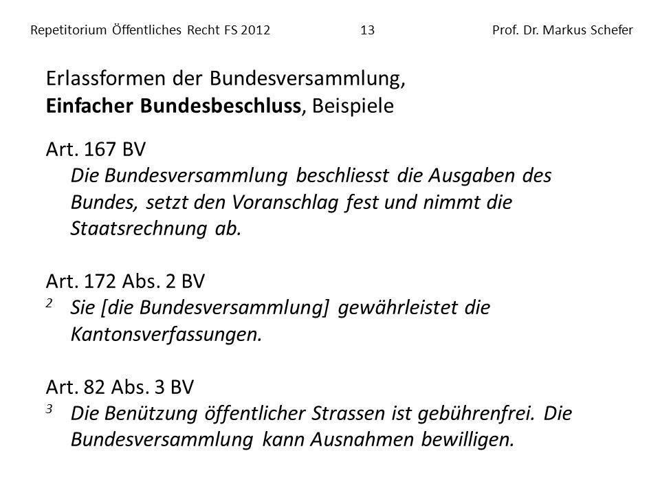 Repetitorium Öffentliches Recht FS 201213Prof. Dr.