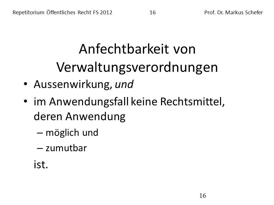 Repetitorium Öffentliches Recht FS 201216Prof. Dr.