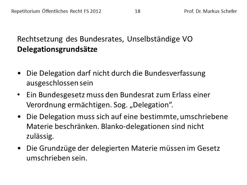 Repetitorium Öffentliches Recht FS 201218Prof. Dr.