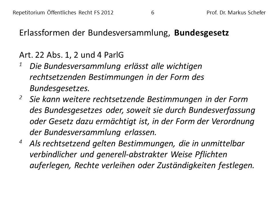 Repetitorium Öffentliches Recht FS 201217Prof.Dr.