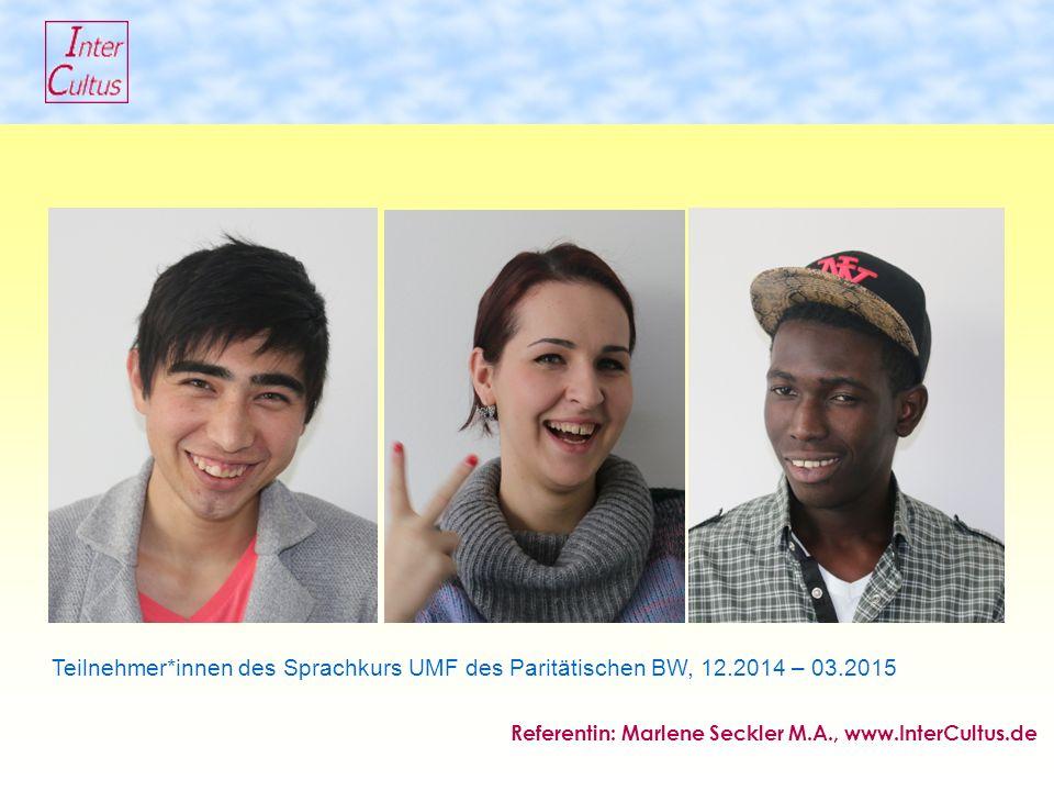 Teilnehmer*innen des Sprachkurs UMF des Paritätischen BW, 12.2014 – 03.2015