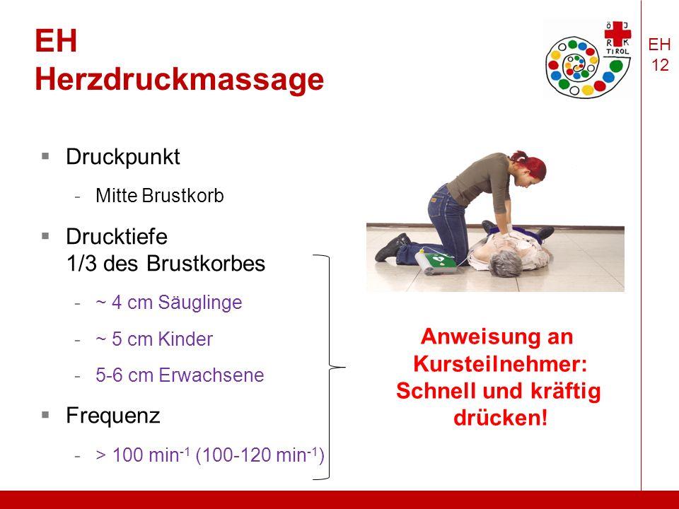 EH 12 EH Herzdruckmassage  Druckpunkt -Mitte Brustkorb  Drucktiefe 1/3 des Brustkorbes -~ 4 cm Säuglinge -~ 5 cm Kinder -5-6 cm Erwachsene  Frequenz -> 100 min -1 (100-120 min -1 ) Anweisung an Kursteilnehmer: Schnell und kräftig drücken!