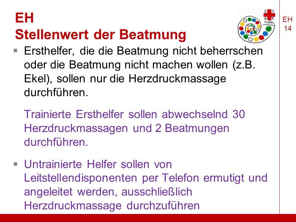 EH 14 EH Stellenwert der Beatmung  Ersthelfer, die die Beatmung nicht beherrschen oder die Beatmung nicht machen wollen (z.B.