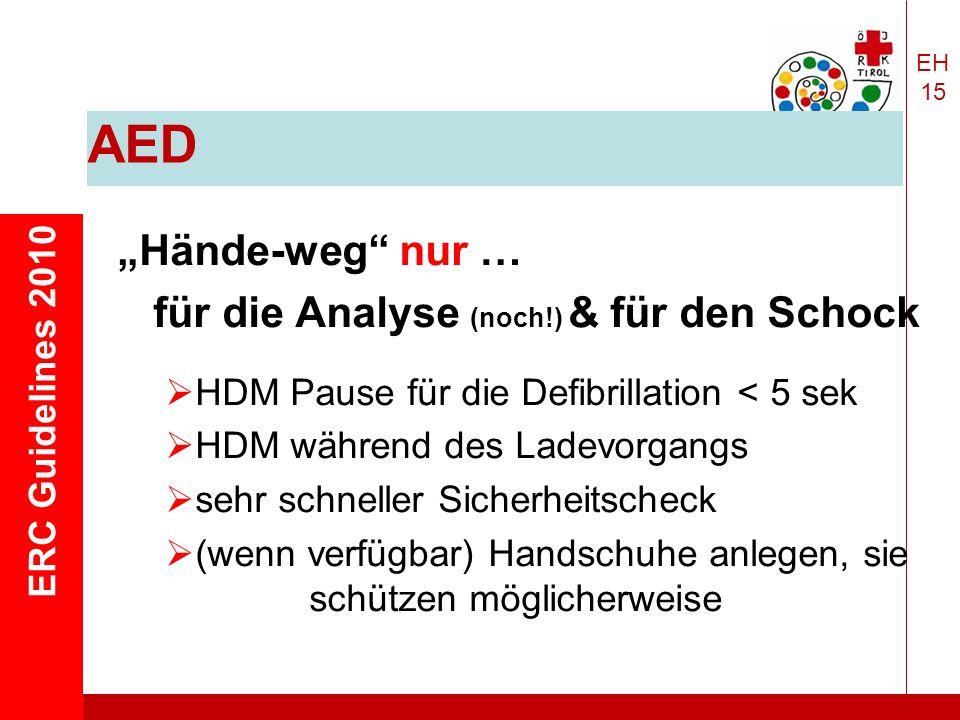 """EH 15 ERC Guidelines 2010 AED """"Hände-weg nur … für die Analyse (noch!) & für den Schock  HDM Pause für die Defibrillation < 5 sek  HDM während des Ladevorgangs  sehr schneller Sicherheitscheck  (wenn verfügbar) Handschuhe anlegen, sie schützen möglicherweise"""