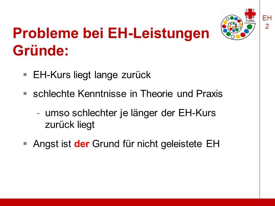 EH 2 Probleme bei EH-Leistungen Gründe:  EH-Kurs liegt lange zurück  schlechte Kenntnisse in Theorie und Praxis -umso schlechter je länger der EH-Kurs zurück liegt  Angst ist der Grund für nicht geleistete EH