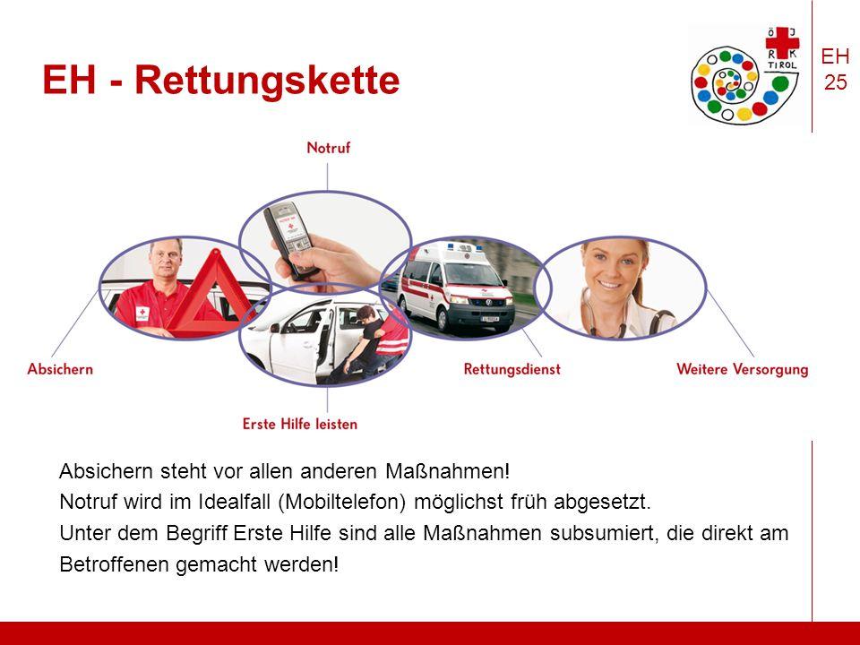 EH 25 EH - Rettungskette Absichern steht vor allen anderen Maßnahmen.