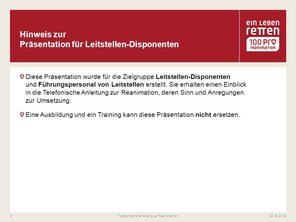 Diese Präsentation wurde für die Zielgruppe Leitstellen-Disponenten und Führungspersonal von Leitstellen erstellt.