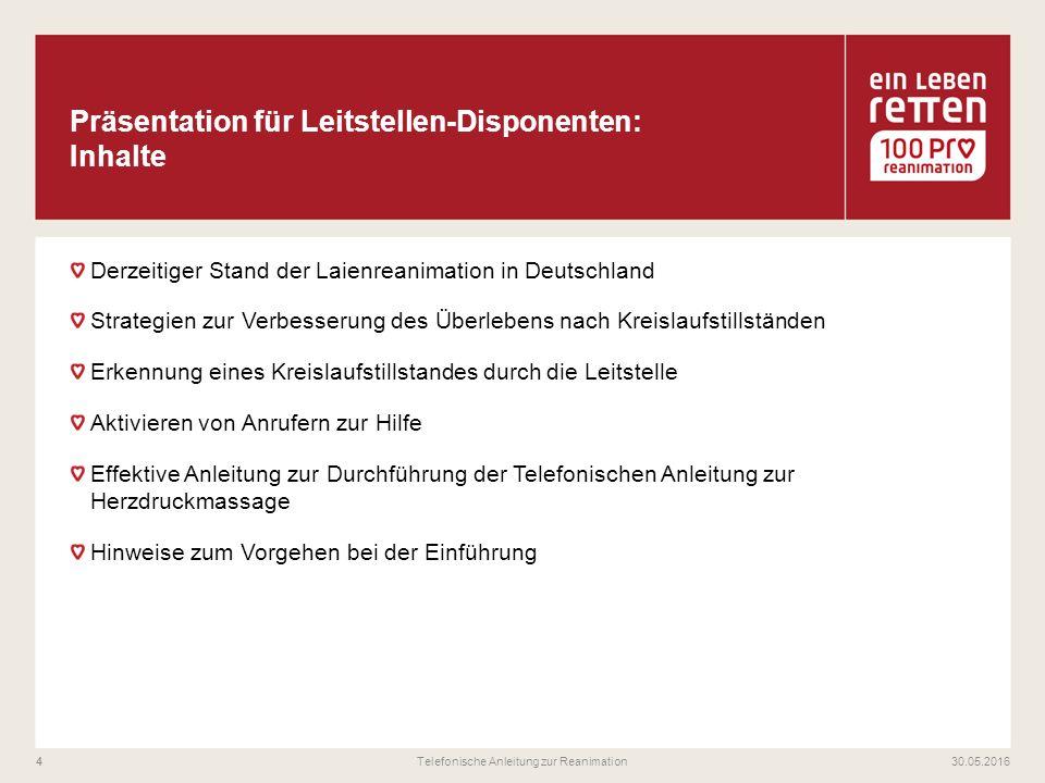 Derzeitiger Stand der Laienreanimation in Deutschland Strategien zur Verbesserung des Überlebens nach Kreislaufstillständen Erkennung eines Kreislaufs