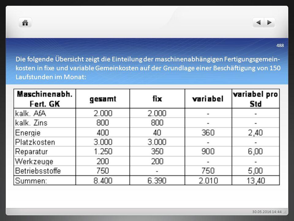 Die folgende Übersicht zeigt die Einteilung der maschinenabhängigen Fertigungsgemein- kosten in fixe und variable Gemeinkosten auf der Grundlage einer