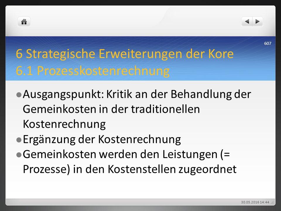 6 Strategische Erweiterungen der Kore 6.1 Prozesskostenrechnung Ausgangspunkt: Kritik an der Behandlung der Gemeinkosten in der traditionellen Kostenr
