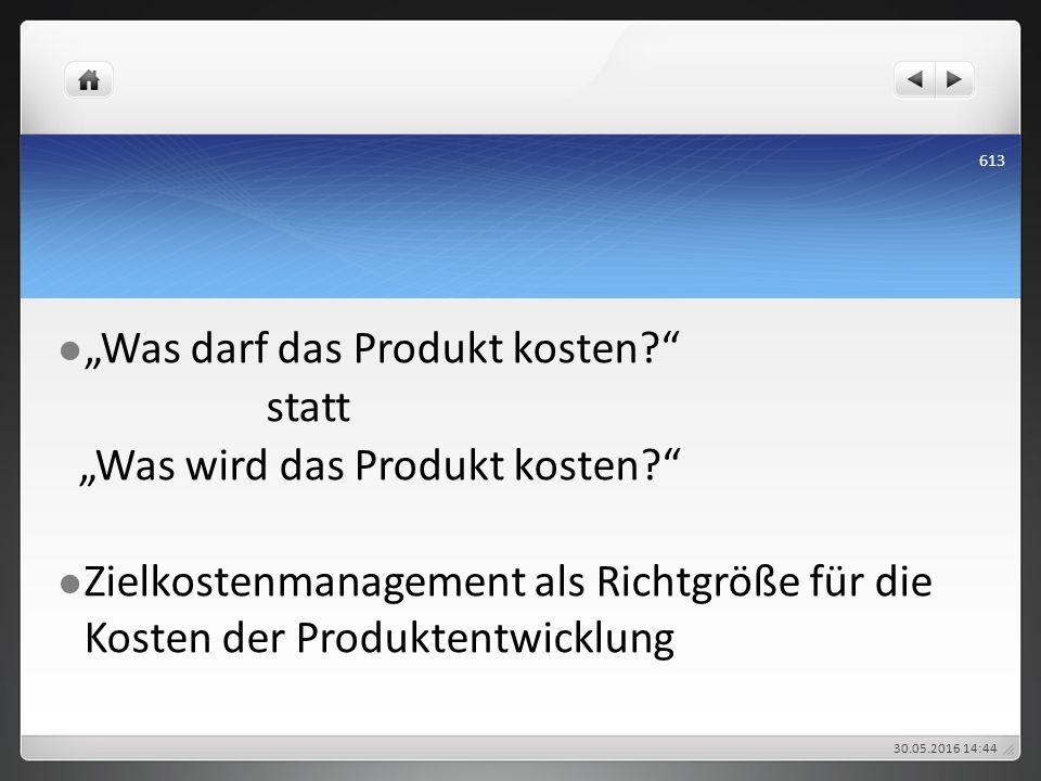 """""""Was darf das Produkt kosten?"""" statt """"Was wird das Produkt kosten?"""" Zielkostenmanagement als Richtgröße für die Kosten der Produktentwicklung 30.05.20"""