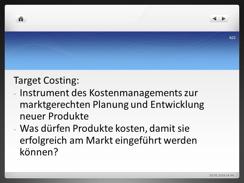 Target Costing: - Instrument des Kostenmanagements zur marktgerechten Planung und Entwicklung neuer Produkte - Was dürfen Produkte kosten, damit sie e