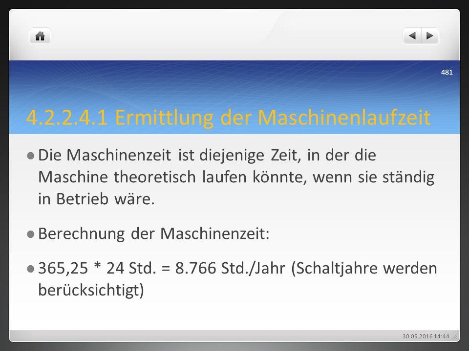 4.2.2.4.1 Ermittlung der Maschinenlaufzeit Die Maschinenzeit ist diejenige Zeit, in der die Maschine theoretisch laufen könnte, wenn sie ständig in Be