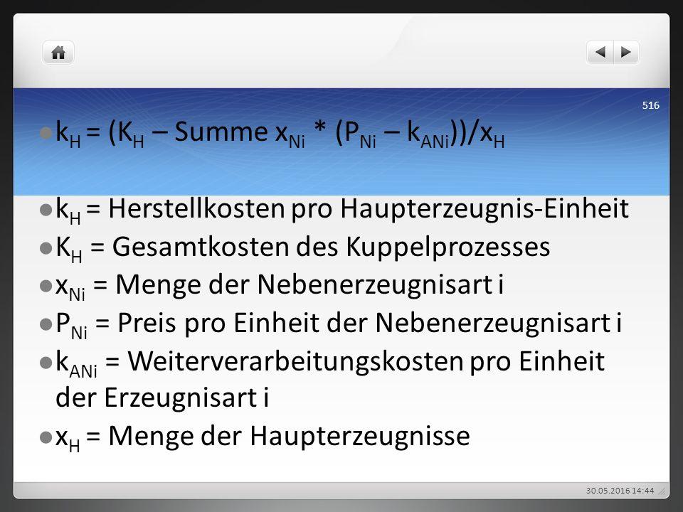 k H = (K H – Summe x Ni * (P Ni – k ANi ))/x H k H = Herstellkosten pro Haupterzeugnis-Einheit K H = Gesamtkosten des Kuppelprozesses x Ni = Menge der