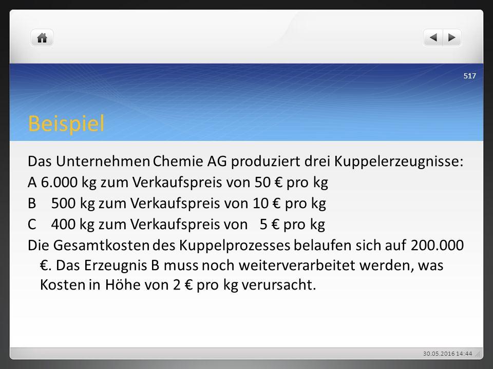 Beispiel Das Unternehmen Chemie AG produziert drei Kuppelerzeugnisse: A 6.000 kg zum Verkaufspreis von 50 € pro kg B 500 kg zum Verkaufspreis von 10 €