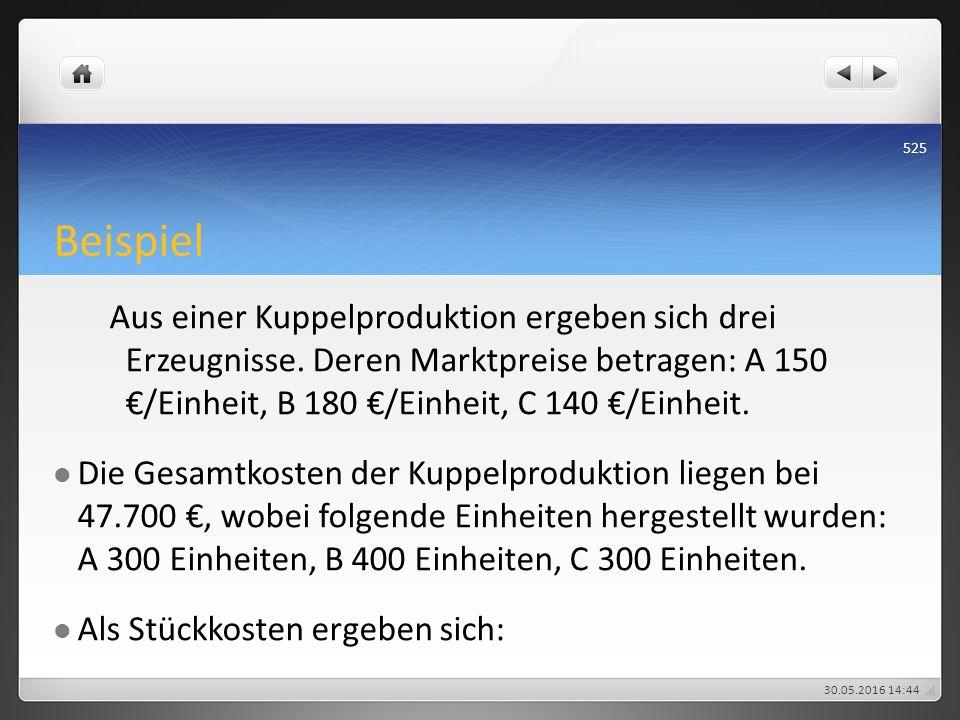 Beispiel Aus einer Kuppelproduktion ergeben sich drei Erzeugnisse. Deren Marktpreise betragen: A 150 €/Einheit, B 180 €/Einheit, C 140 €/Einheit. Die
