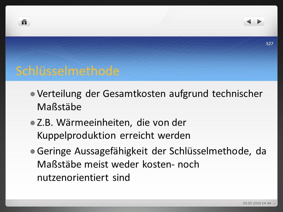 Schlüsselmethode Verteilung der Gesamtkosten aufgrund technischer Maßstäbe Z.B. Wärmeeinheiten, die von der Kuppelproduktion erreicht werden Geringe A