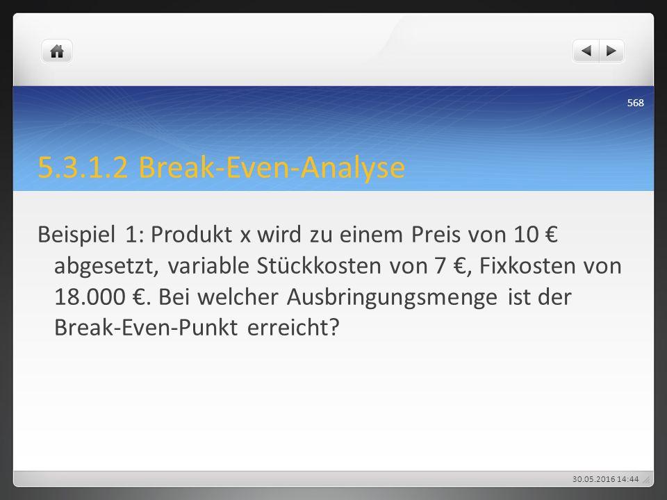 5.3.1.2 Break-Even-Analyse Beispiel 1: Produkt x wird zu einem Preis von 10 € abgesetzt, variable Stückkosten von 7 €, Fixkosten von 18.000 €. Bei wel