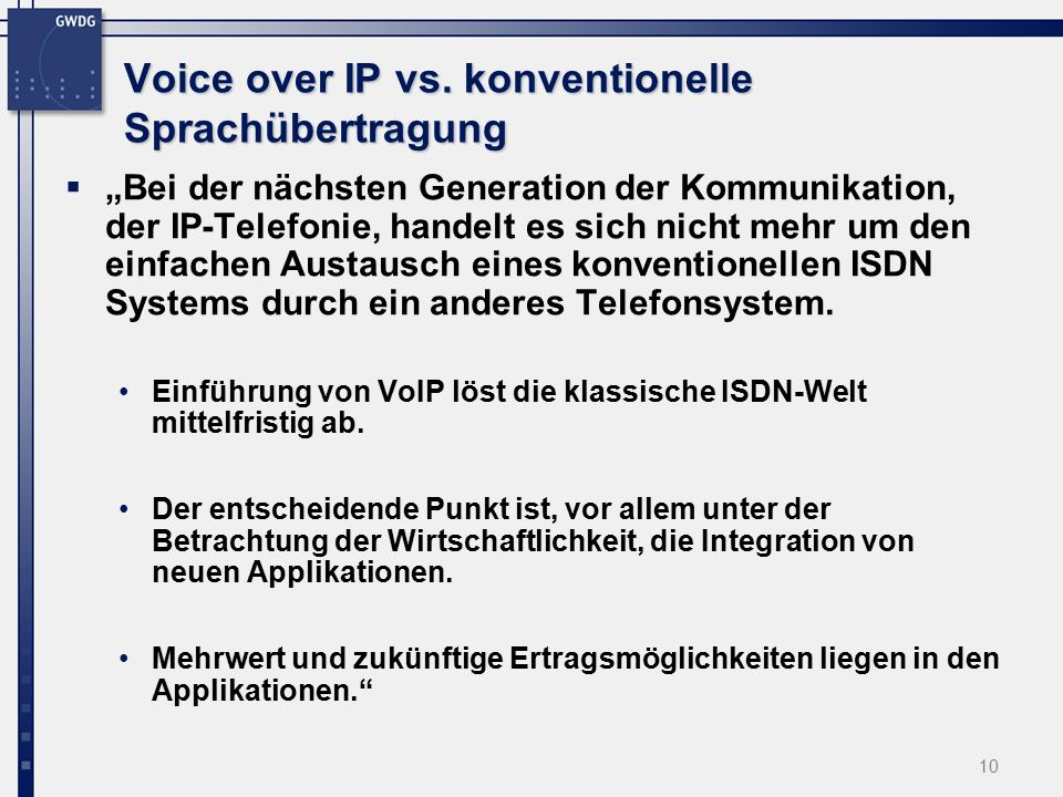 10 Voice over IP vs.
