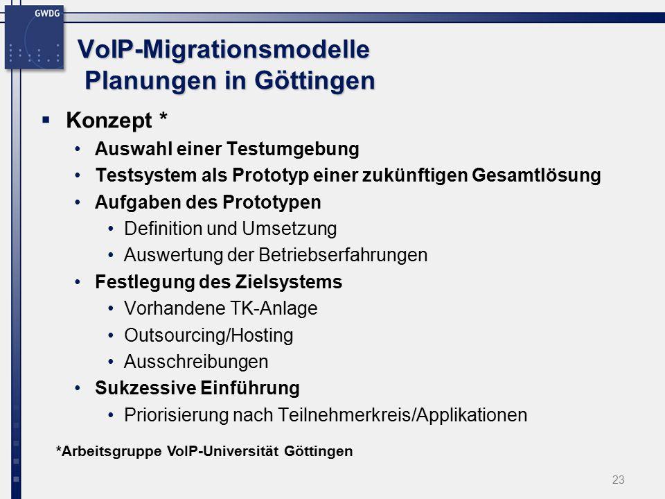 23 VoIP-Migrationsmodelle Planungen in Göttingen  Konzept * Auswahl einer Testumgebung Testsystem als Prototyp einer zukünftigen Gesamtlösung Aufgaben des Prototypen Definition und Umsetzung Auswertung der Betriebserfahrungen Festlegung des Zielsystems Vorhandene TK-Anlage Outsourcing/Hosting Ausschreibungen Sukzessive Einführung Priorisierung nach Teilnehmerkreis/Applikationen *Arbeitsgruppe VoIP-Universität Göttingen