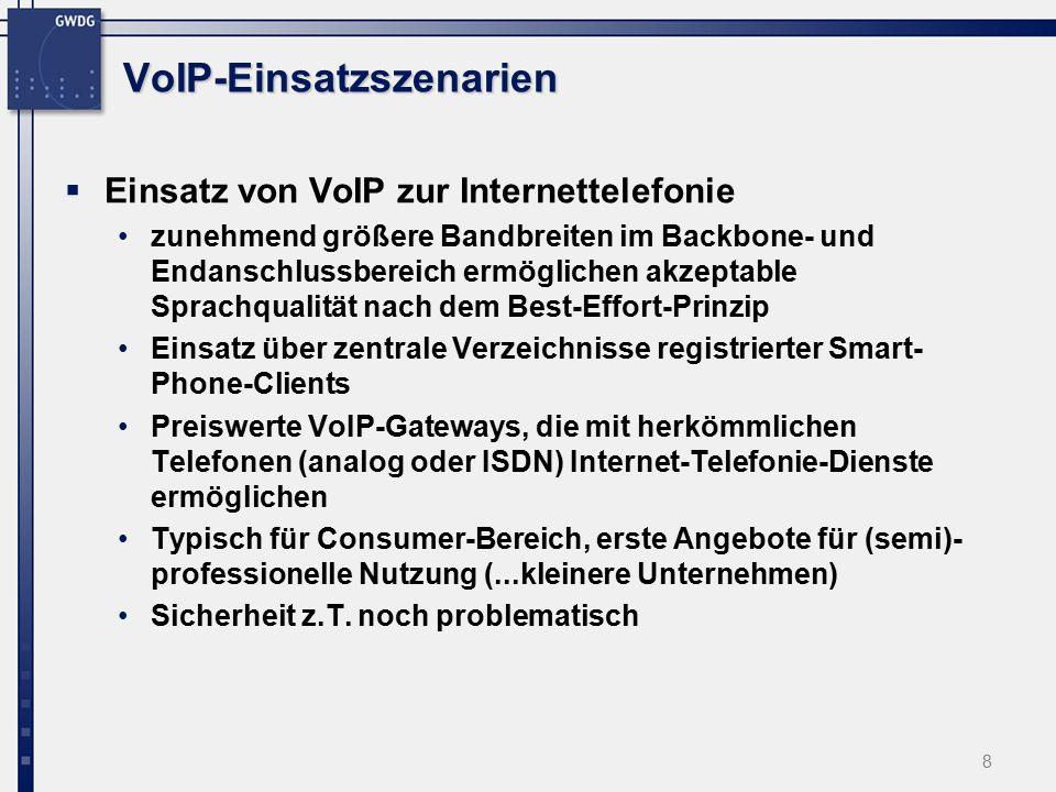 8 VoIP-Einsatzszenarien  Einsatz von VoIP zur Internettelefonie zunehmend größere Bandbreiten im Backbone- und Endanschlussbereich ermöglichen akzeptable Sprachqualität nach dem Best-Effort-Prinzip Einsatz über zentrale Verzeichnisse registrierter Smart- Phone-Clients Preiswerte VoIP-Gateways, die mit herkömmlichen Telefonen (analog oder ISDN) Internet-Telefonie-Dienste ermöglichen Typisch für Consumer-Bereich, erste Angebote für (semi)- professionelle Nutzung (...kleinere Unternehmen) Sicherheit z.T.
