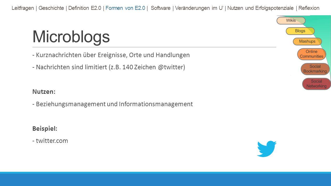 Microblogs - Kurznachrichten über Ereignisse, Orte und Handlungen - Nachrichten sind limitiert (z.B.