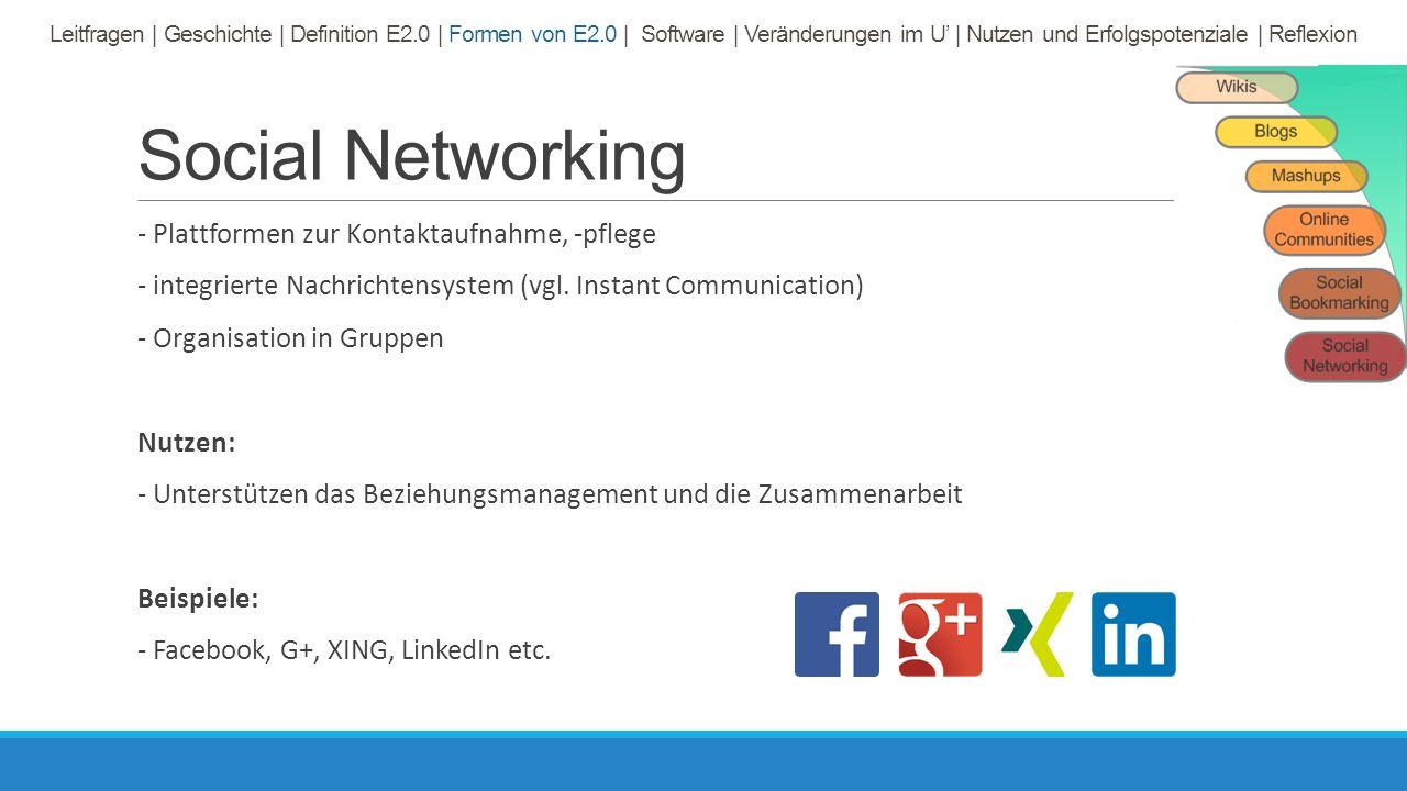 Social Networking - Plattformen zur Kontaktaufnahme, -pflege - integrierte Nachrichtensystem (vgl.