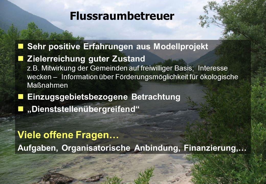 Seite 12 23.02.2010 Flussraumbetreuer Sehr positive Erfahrungen aus Modellprojekt Zielerreichung guter Zustand z.B. Mitwirkung der Gemeinden auf freiw