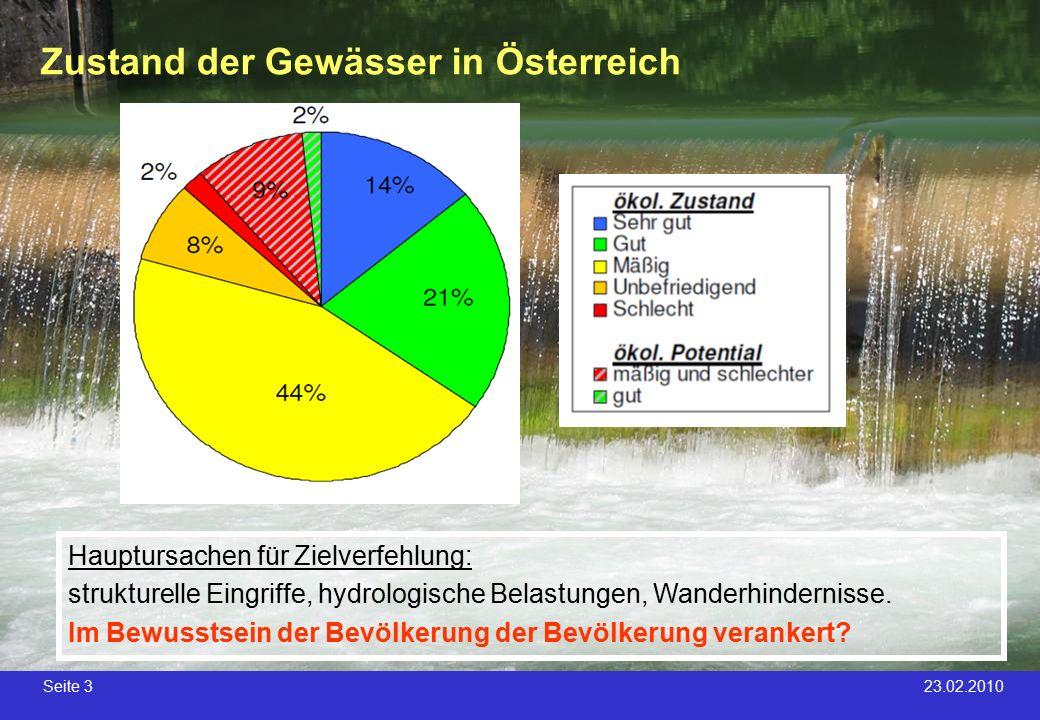Seite 3 23.02.2010 Zustand der Gewässer in Österreich 60% 24% Hauptursachen für Zielverfehlung: strukturelle Eingriffe, hydrologische Belastungen, Wan