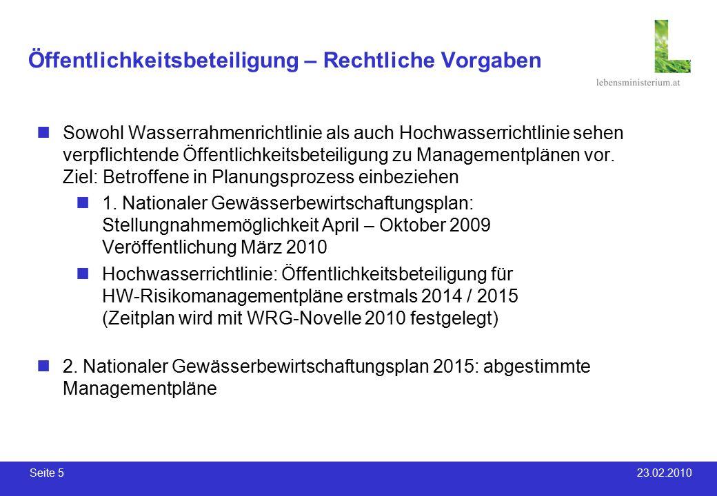 Seite 5 23.02.2010 Öffentlichkeitsbeteiligung – Rechtliche Vorgaben Sowohl Wasserrahmenrichtlinie als auch Hochwasserrichtlinie sehen verpflichtende Öffentlichkeitsbeteiligung zu Managementplänen vor.