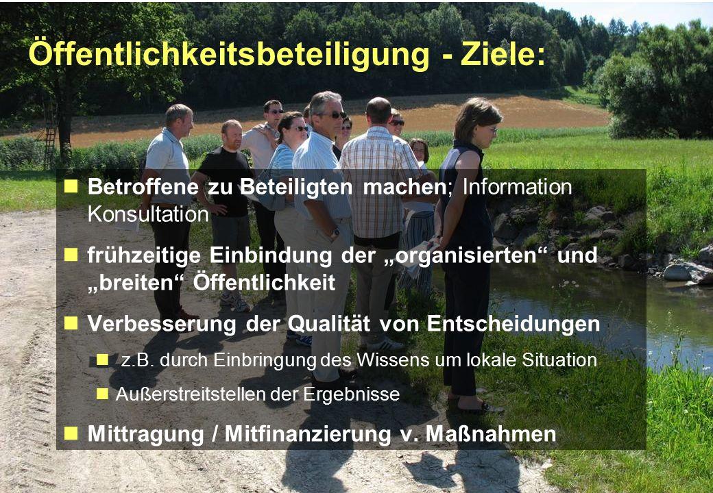 """Seite 6 23.02.2010 Öffentlichkeitsbeteiligung - Ziele: Betroffene zu Beteiligten machen; Information Konsultation frühzeitige Einbindung der """"organisierten und """"breiten Öffentlichkeit Verbesserung der Qualität von Entscheidungen z.B."""