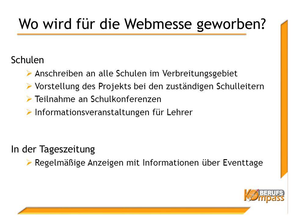 Wo wird für die Webmesse geworben.