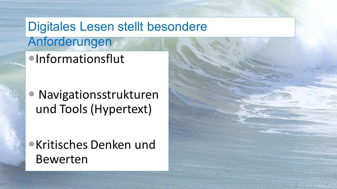 Informationsflut Navigationsstrukturen und Tools (Hypertext) Kritisches Denken und Bewerten Digitales Lesen stellt besondere Anforderungen