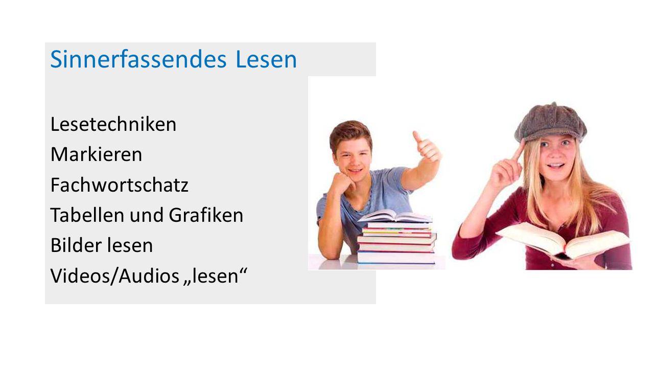 """Sinnerfassendes Lesen Lesetechniken Markieren Fachwortschatz Tabellen und Grafiken Bilder lesen Videos/Audios """"lesen"""