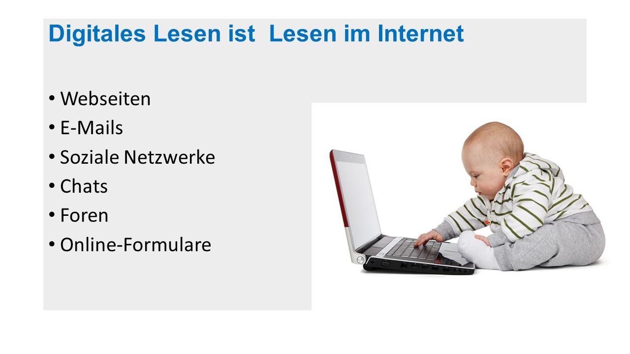 Digitales Lesen ist Lesen im Internet Webseiten E-Mails Soziale Netzwerke Chats Foren Online-Formulare http://commons.wikimedia.org