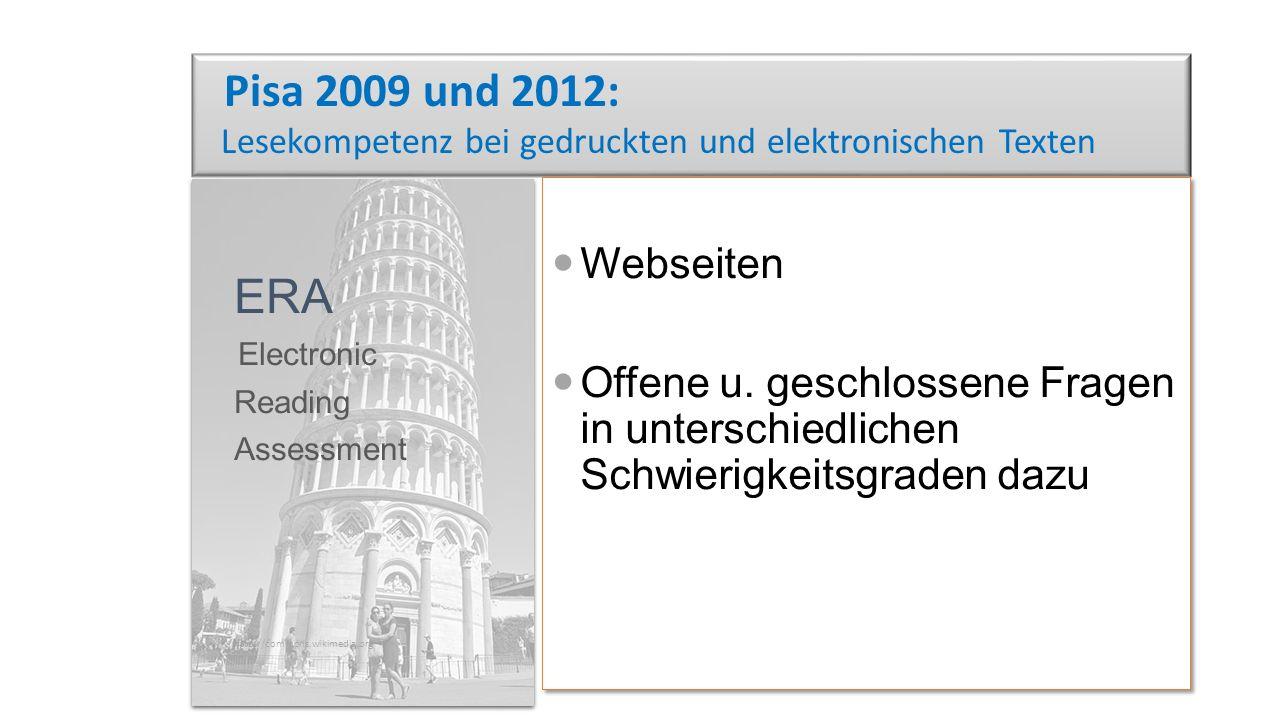 Pisa 2009 und 2012: Lesekompetenz bei gedruckten und elektronischen Texten Webseiten Offene u.