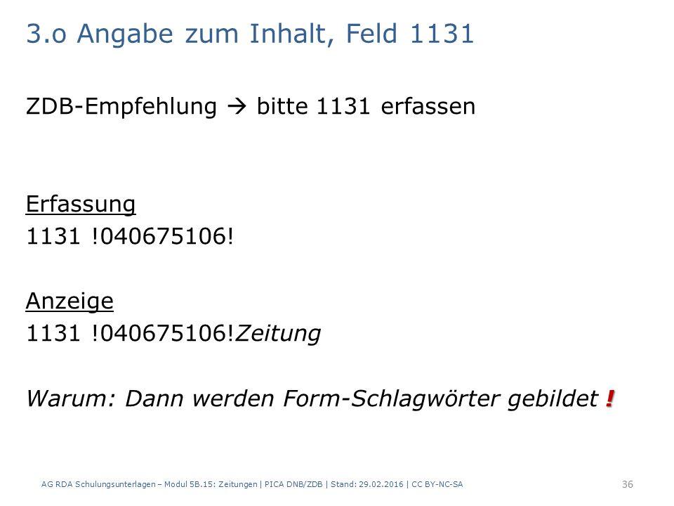 3.o Angabe zum Inhalt, Feld 1131 ZDB-Empfehlung  bitte 1131 erfassen Erfassung 1131 !040675106.
