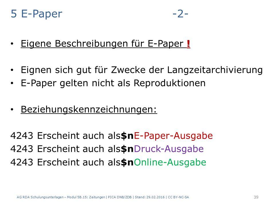 5 E-Paper -2- . Eigene Beschreibungen für E-Paper .