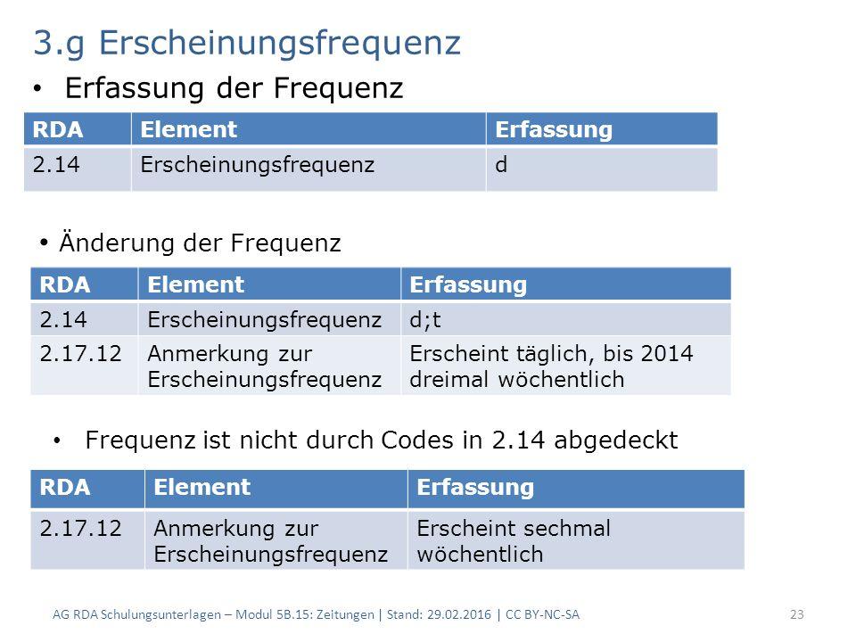 3.g Erscheinungsfrequenz Erfassung der Frequenz AG RDA Schulungsunterlagen – Modul 5B.15: Zeitungen | Stand: 29.02.2016 | CC BY-NC-SA23 RDAElementErfassung 2.14Erscheinungsfrequenzd RDAElementErfassung 2.14Erscheinungsfrequenzd;t 2.17.12Anmerkung zur Erscheinungsfrequenz Erscheint täglich, bis 2014 dreimal wöchentlich RDAElementErfassung 2.17.12Anmerkung zur Erscheinungsfrequenz Erscheint sechmal wöchentlich Änderung der Frequenz Frequenz ist nicht durch Codes in 2.14 abgedeckt