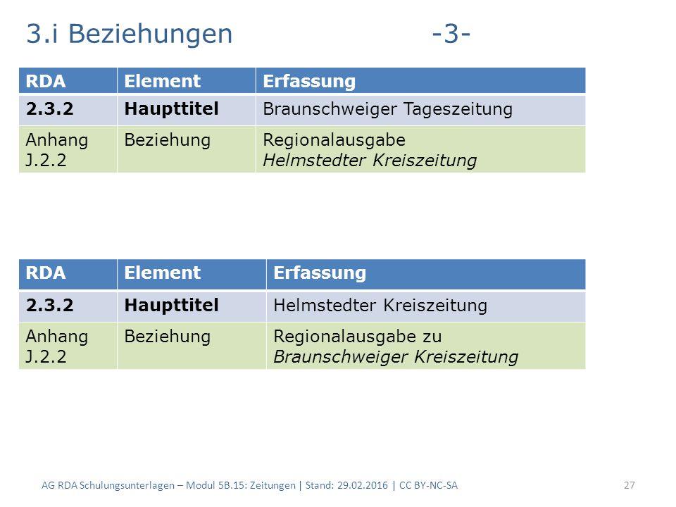 3.i Beziehungen-3- AG RDA Schulungsunterlagen – Modul 5B.15: Zeitungen | Stand: 29.02.2016 | CC BY-NC-SA27 RDAElementErfassung 2.3.2HaupttitelBraunschweiger Tageszeitung Anhang J.2.2 BeziehungRegionalausgabe Helmstedter Kreiszeitung RDAElementErfassung 2.3.2HaupttitelHelmstedter Kreiszeitung Anhang J.2.2 BeziehungRegionalausgabe zu Braunschweiger Kreiszeitung