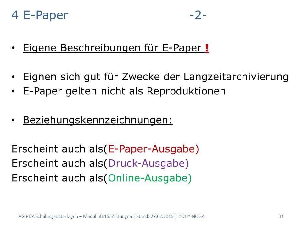 4 E-Paper -2- . Eigene Beschreibungen für E-Paper .