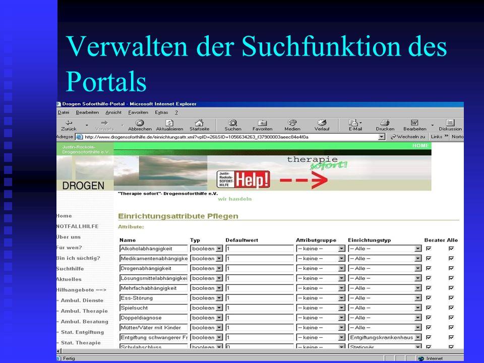Verwalten der Suchfunktion des Portals